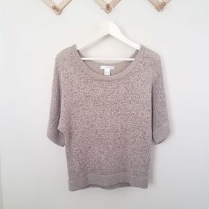 Taupe boat neck bat wing sweater loose weave L